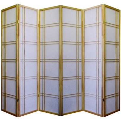 Geometric Natural 6 Panel Shoji Screen