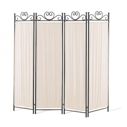 4 panel screen in black and gold with butterfly decor