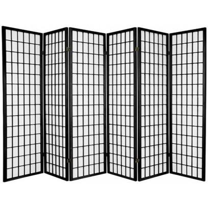 Black 6 Panel Shoji Screen