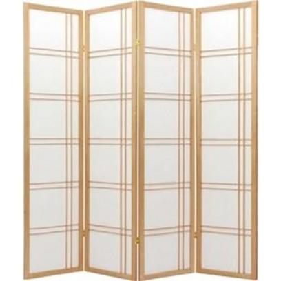 Geometric Natural 4 Panel  Shoji Screen