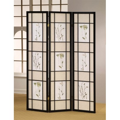 Botanical Black 3 Panel Shoji Screen