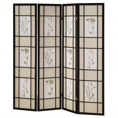 Botanical Black 4 Panel Shoji Screen