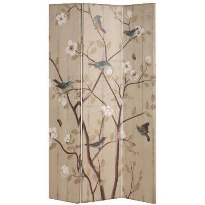 Floral and Birds 3 Panel Folding Screen