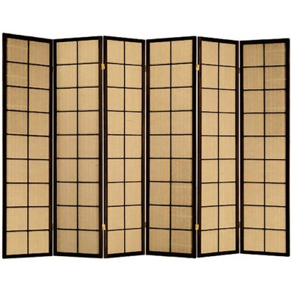 Cappuccino 6 Panel Jute Inlay room divider