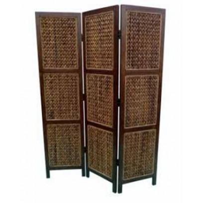 3 panel modern screen with banana leaf weave