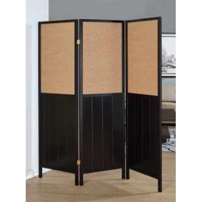 Black 3 Panel wooden Folding Screen