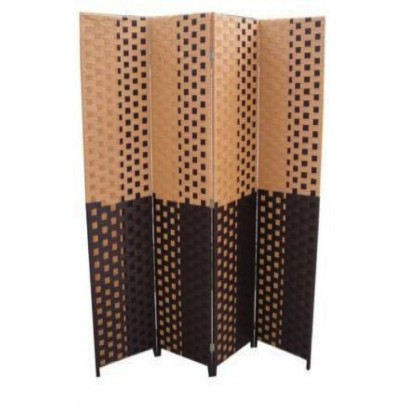 Brown/Espresso Brown Straw Weave 4 Panel Screen, Handcrafted