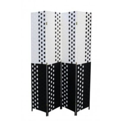 Black/White Straw Weave 4 Panel Screen, Handcrafted