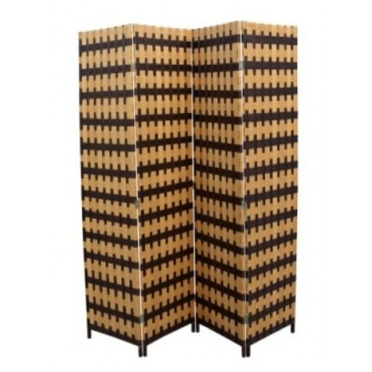 Brown / Natural Brown Straw Weave 4 Panel Screen, Handcrafted