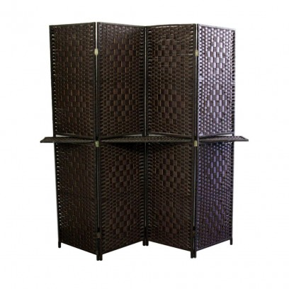 4 Panel Espresso Brown Straw Weave W/ One 63″L Shelving , Handcrafted