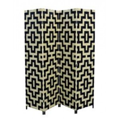 Black/Beige Straw Weave 4 Panel Screen, Handcrafted