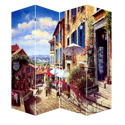 """4 Panel French Countryside Canvas Room Divider, 71"""""""