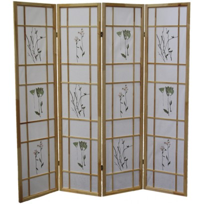 Botanical Natural 4 Panel Shoji Screen