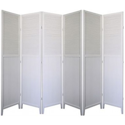 Shutter Door 6 Panel Room Divider – White