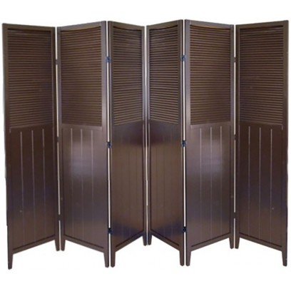 Shutter Door 6 Panel Room Divider – Espresso