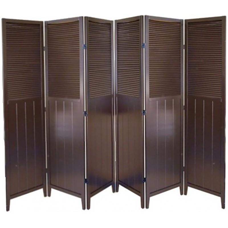 Shutter Door 6 Panel Room Divider Espresso