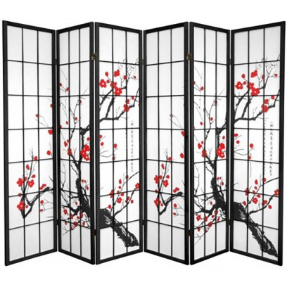 Plum Blossom Tree 6 Panel Shoji Screen -Black