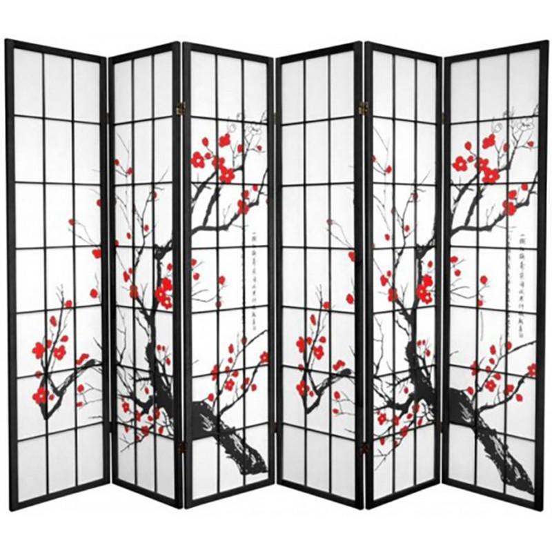 Plum blossom tree 6 panel shoji screen black for Oriental furniture warehouse