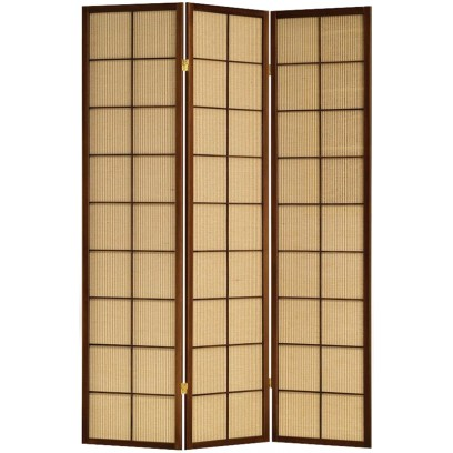 Jute Inlay brown 3 panel room divider