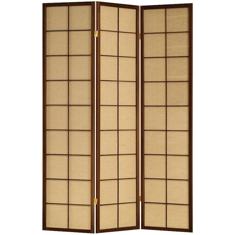 Jute Inlay Brown 3 Panel Room Divider