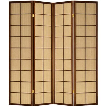 Jute Inlay Brown 4 Panel room divider