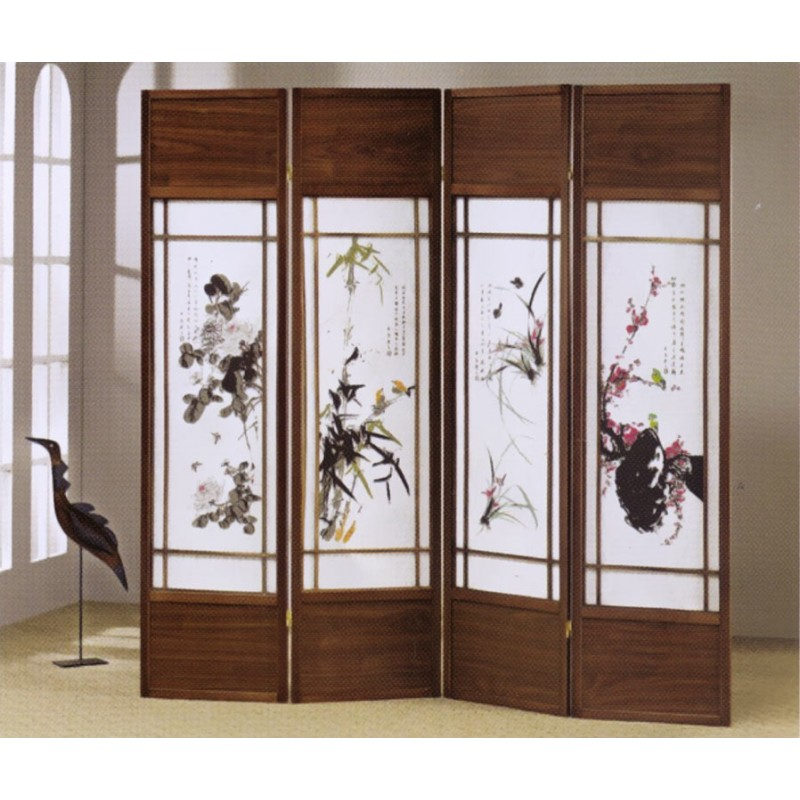 floral paintings printed 4 panel folding screen walnut finish