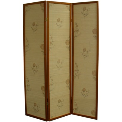 Floral Bamboo 3 Panel Room Divider – Honey