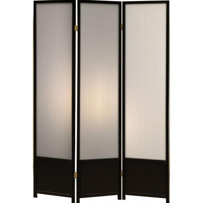 Black 3 panel folding screen with translucent plastic inserts.