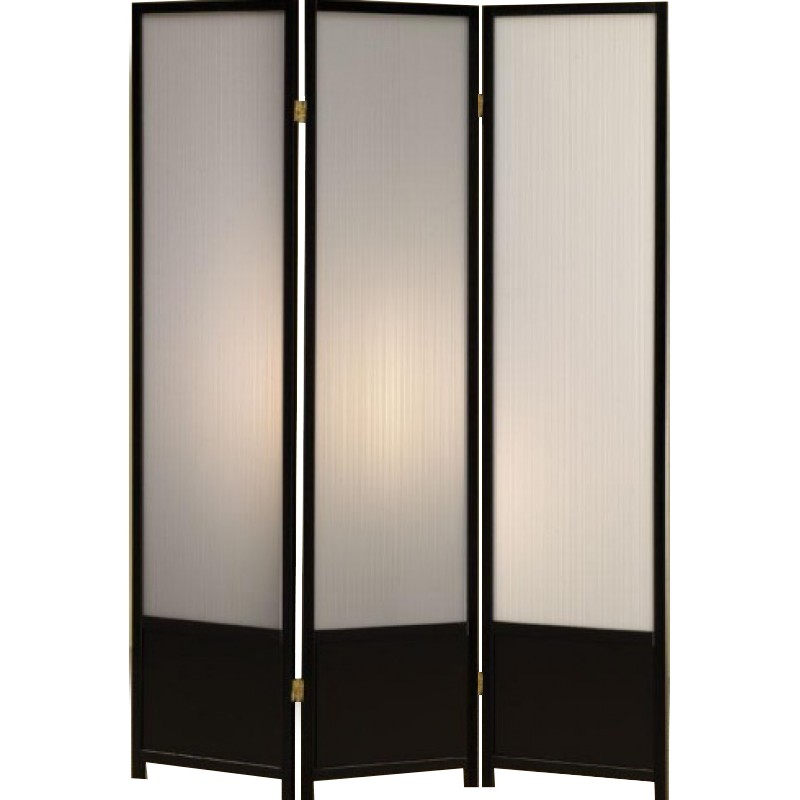 Black 3 panel folding screen with translucent plastic inserts