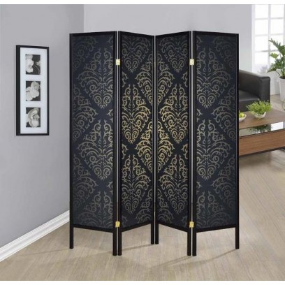 Black 4 panel folding screen with gold tone damask printed pattern