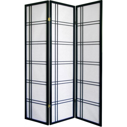Geometric Black 3 Panel  Shoji Screen