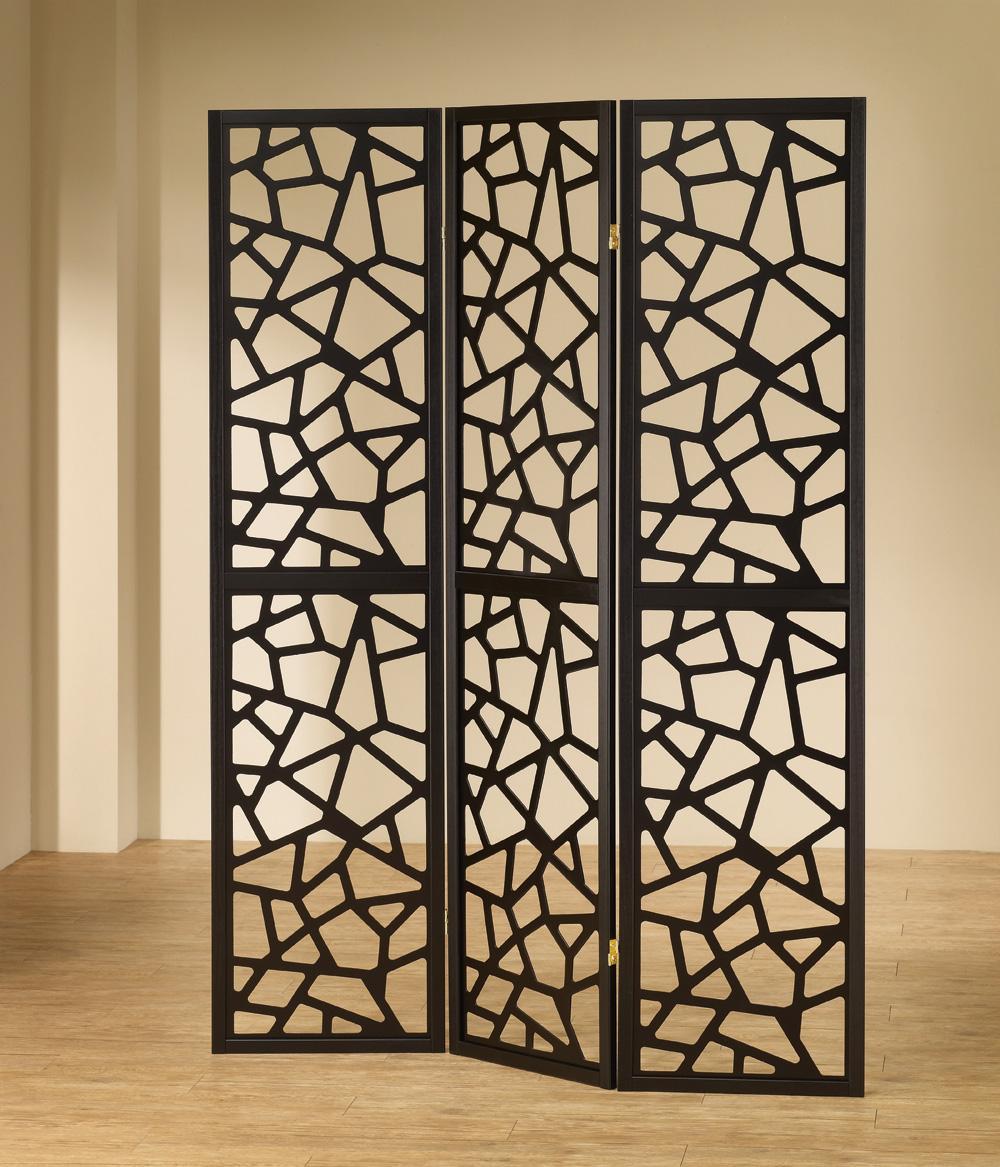 - Black 3 Panel Mosaic Cuts Shaped Folding Screen
